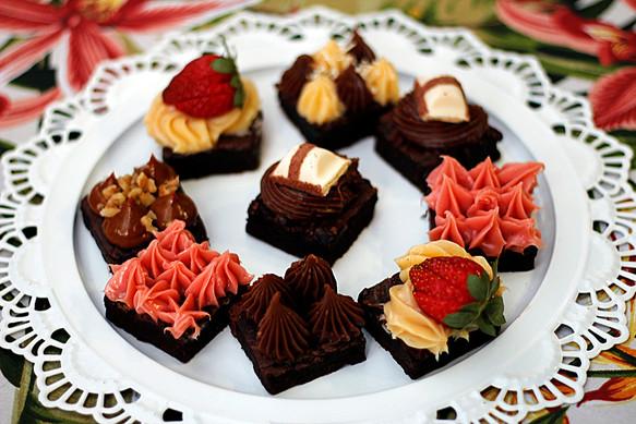 Brownies de Cacau com Coberturas