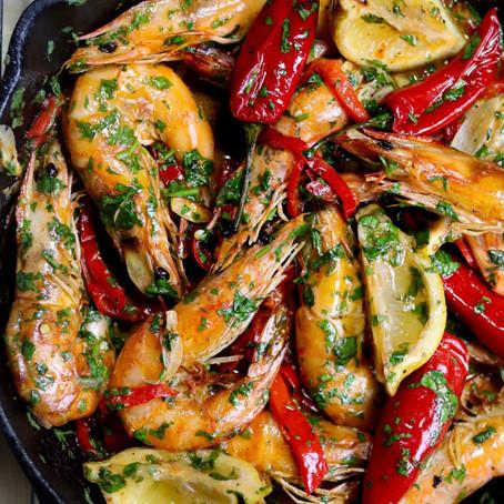 One-Pan Garlic & Red Pepper Prawns