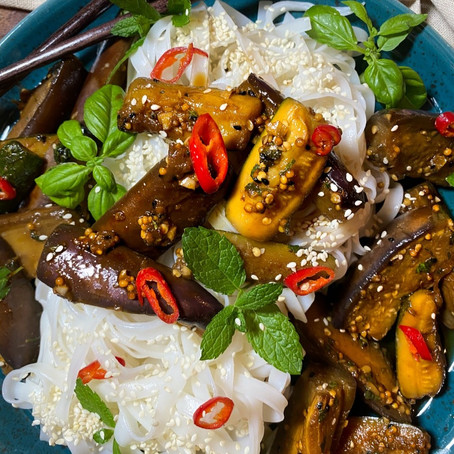 Vegan Aubergine & Courgette Coconut Rice Noodles