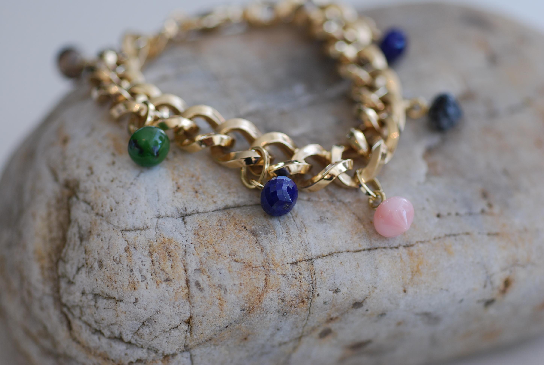 Armband Gelbgold mit div. Anhängern: Lapislazuli, Pink Opal, Schneeflockenobsidian, Jade...