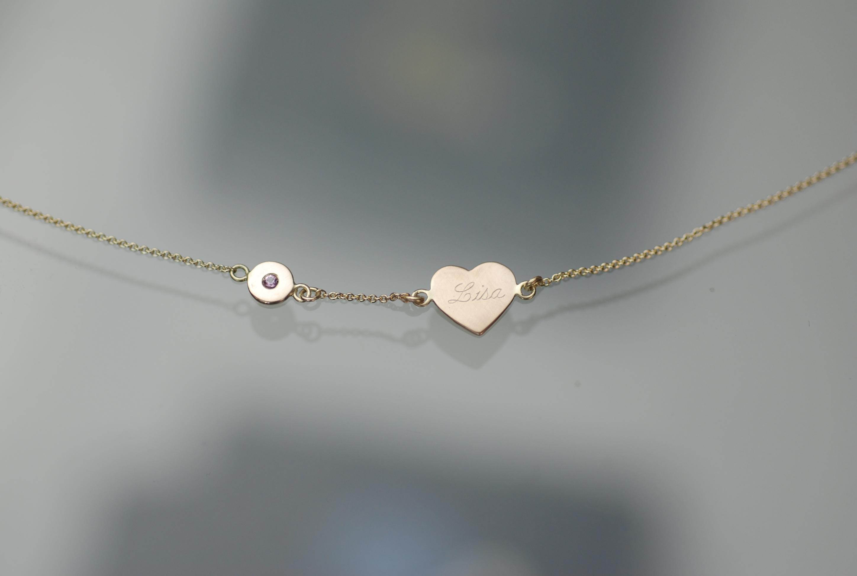 Armkette mit rosa Saphir und persönlicher Gravur