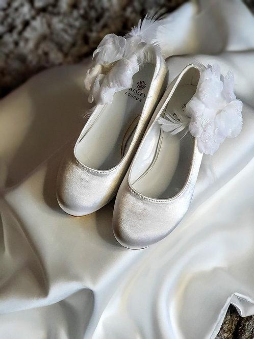 Girls white bridesmaid shoes
