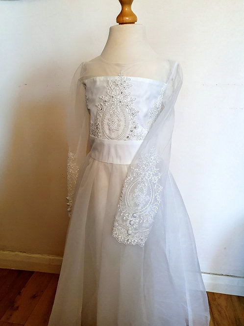 White Embroidery Bridesmaid Dress