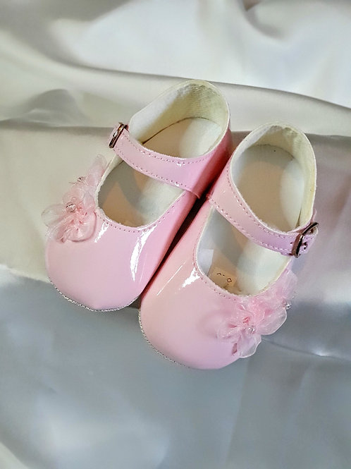 Pink Shoes with Lace Flowers