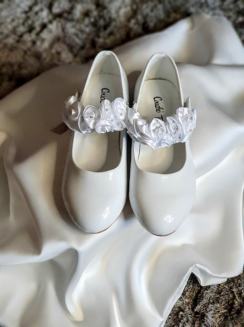 Girls White Diamante Shoes