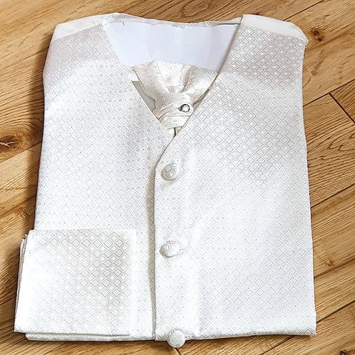 Boys Ivory Waistcoat, Cravat & Pocket Square Set