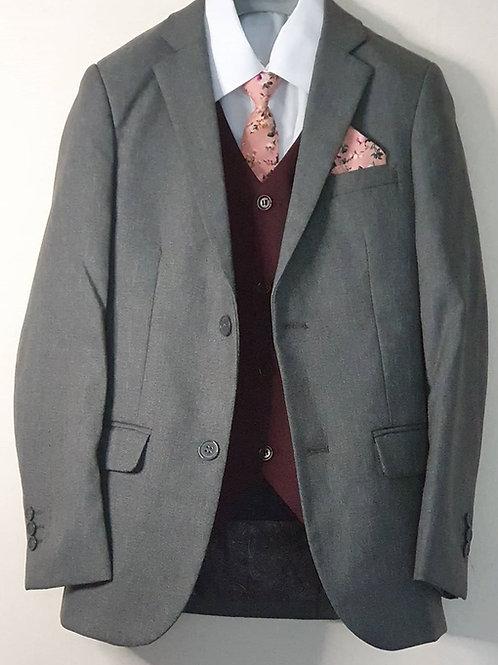 Jacket/Waistcoat Set Grey & Burgundy
