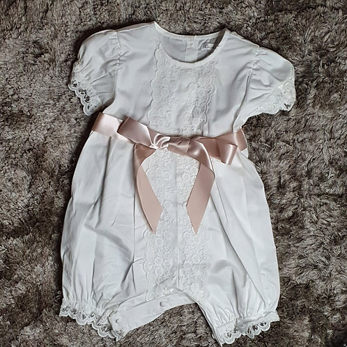 Baby Girls Romper Suit with Pink Sash