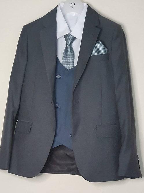 Jacket/Waistcoat Set Dark Grey & Blue