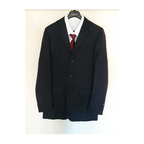 Boys Navy Suit with Burgundy Tie