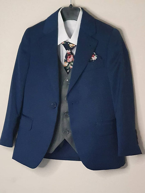 Jacket/Waistcoat Set Navy & Grey
