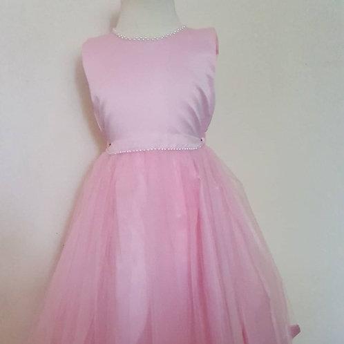 Girls Pearl Neck and Waist Dress Valerie