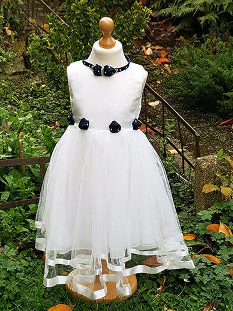 White Dress with Navy Roses & Headband