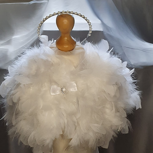 Girls Feather Cape with Headband and side Clips