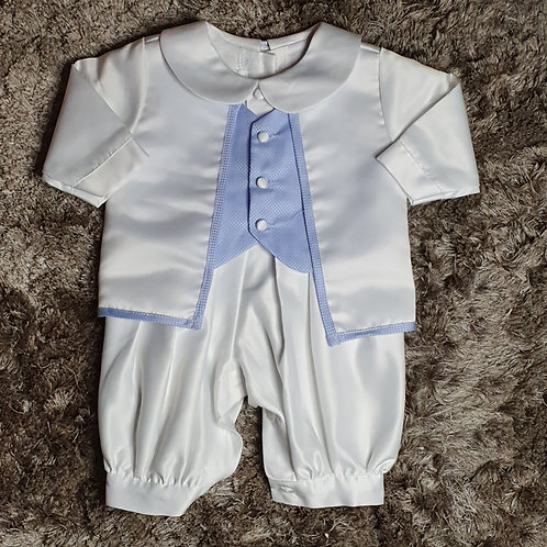 Baby Boys White and Blue Romper