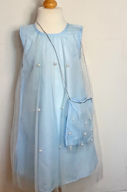 Blue Pearl Dress with Bag