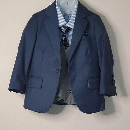 Jacket/Waistcoat Set Blue & Grey
