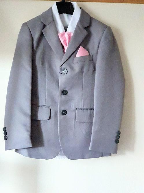 Boys Grey Suit with Pink Diamond Waistcoat