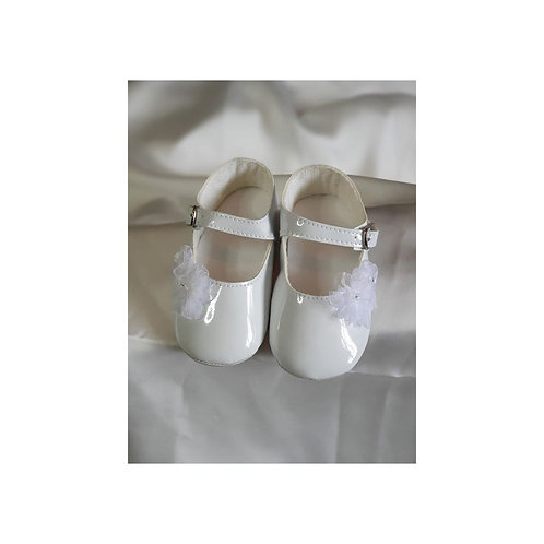 White Shoes with Lace Flowers
