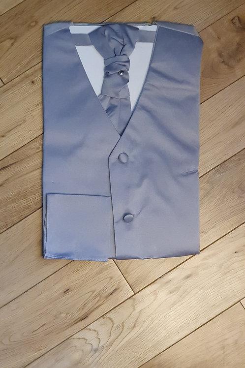 Boys Silver Waistcoat Cravat & Hanky Set