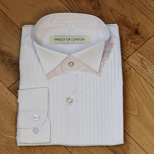 Boys White Pleated Wing Collar Shirt