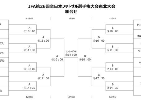 11/16 全日本フットサル選手権東北大会のお知らせ