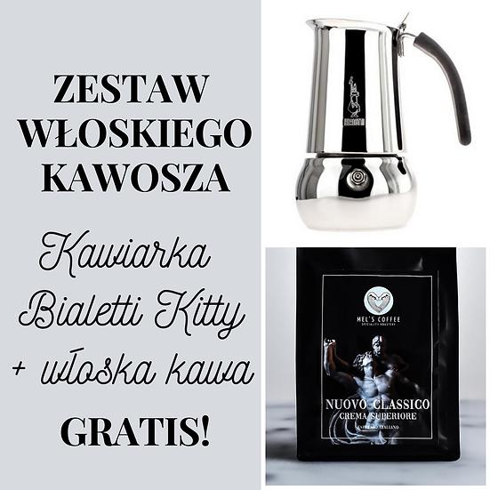 Zestaw włoskiego kawosza na prezent kawiarka i kawa Gratis!