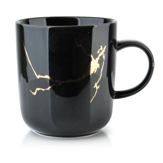 Porcelanowy kubek marble black gold 380ml