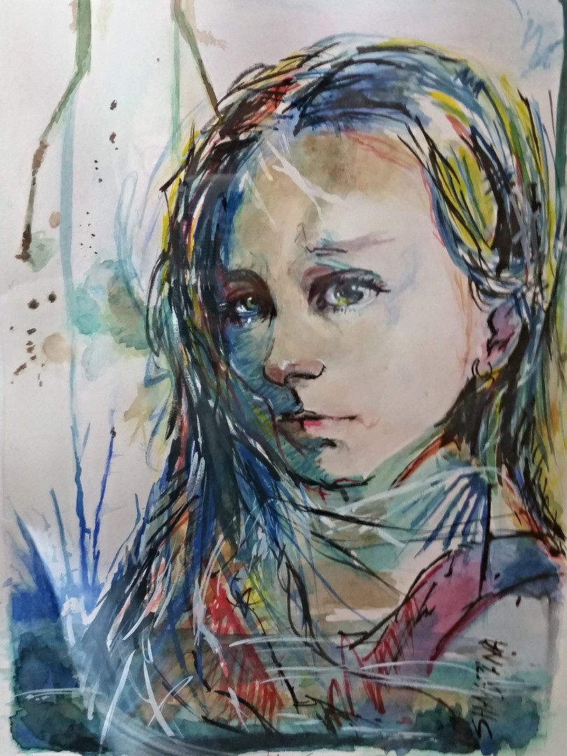 Young Girl Painting Duplication