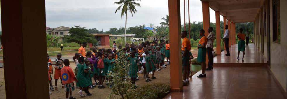 Students outside main entrance