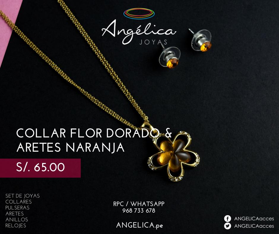Collar Flor& Aretes Naranja