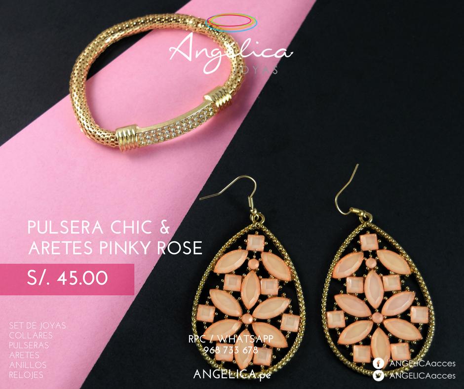 Pulsera Chic& Aretes Pinky Rose