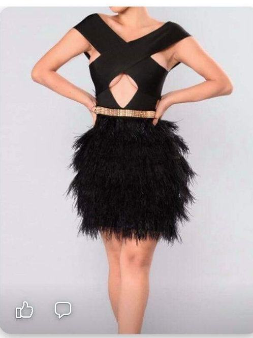Black Bandage and Feather Cocktail Dress