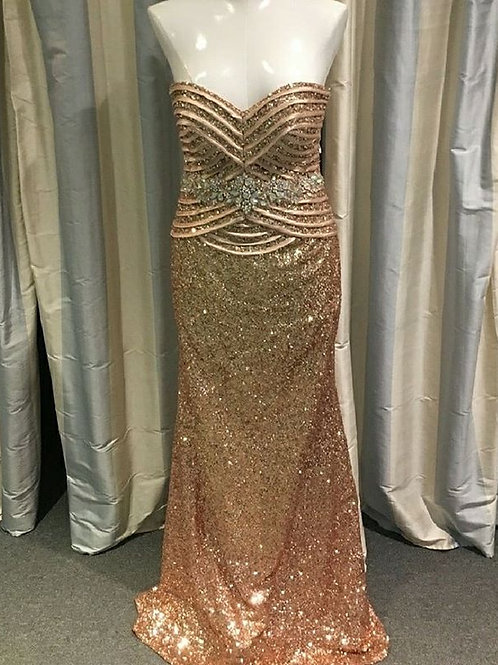 Tony Bowls Rose Gold Sequin Gown Size 8