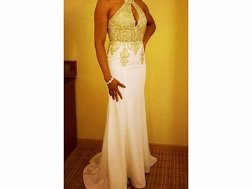 White and Gold Jovani Size 4
