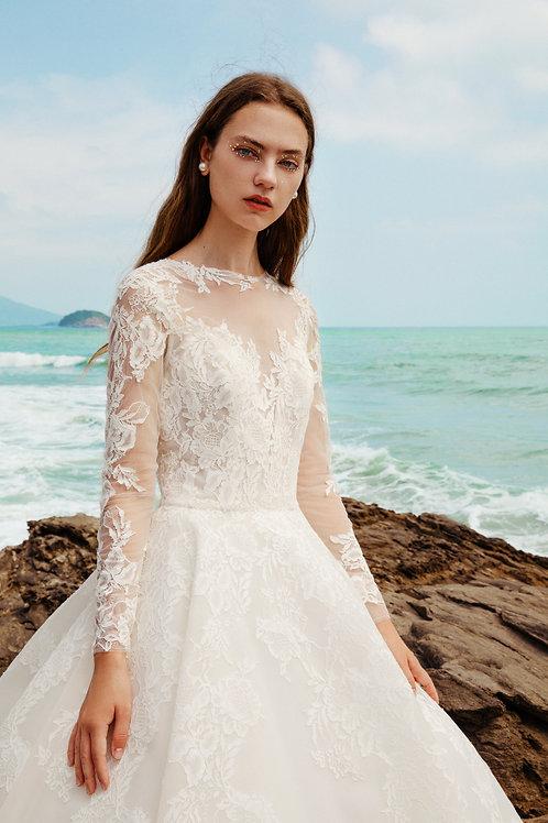 La Premier Couture Long Sleeve Lace Ballgown