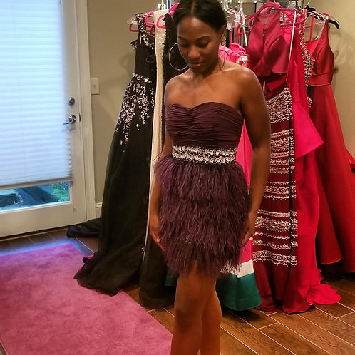 Purple feathers cocktail dress
