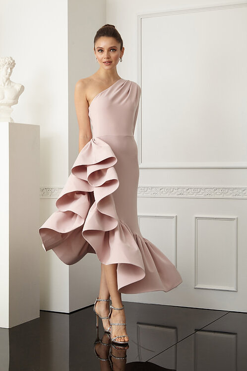 Zynab Smith Collection Pink One Shoulder Midi