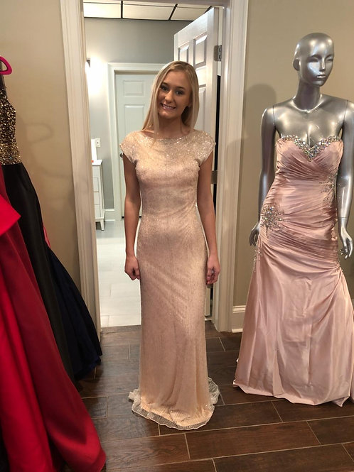 Irena for Macduggal Blush Beaded Gown