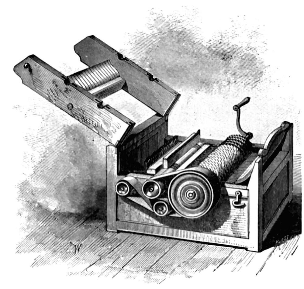"""""""O Cotton-Gin, uma máquina que processa algodão."""" E. Benjamin Andrews, 1895"""