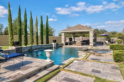 Swimming pool with a gazebo   Pool Services in Texas   Hawk 3 Construction