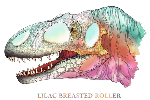 "Allosaurus, ""Lilac Breasted Roller"""
