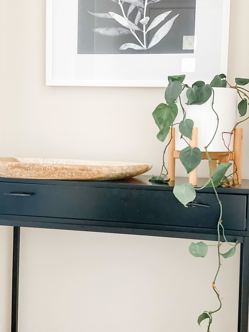black entry console table with storage