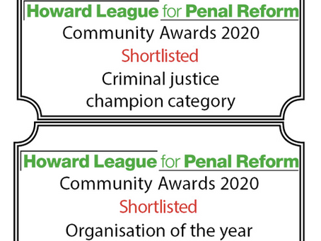 Shortlisted in The Howard League for Penal Reform Community Awards 2020