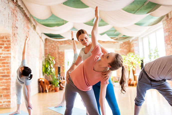 fitness, sport and healthy lifestyle concept - group of people with personal trainer doing yoga exer
