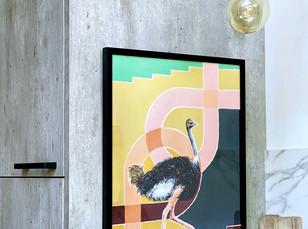 Up & Forward, een struisvogel print gemaakt met passie en aandacht