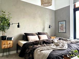 Bedroom metamorphosis in neutral mud! Modderkleuren voor een slaapkamer metamorfose in stijl.