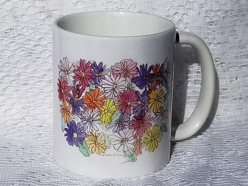 Printed Mug - Explosion of Zinnias