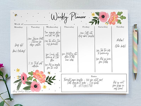 Pretty floral Weekly Planner A4 Tear Off Pad - 50 Undated Sheets