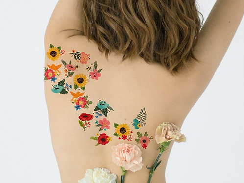 16 Ditsy Wild Flowers, Colourful Floral Temporary Tattoo A6 Sheet | Skin Art